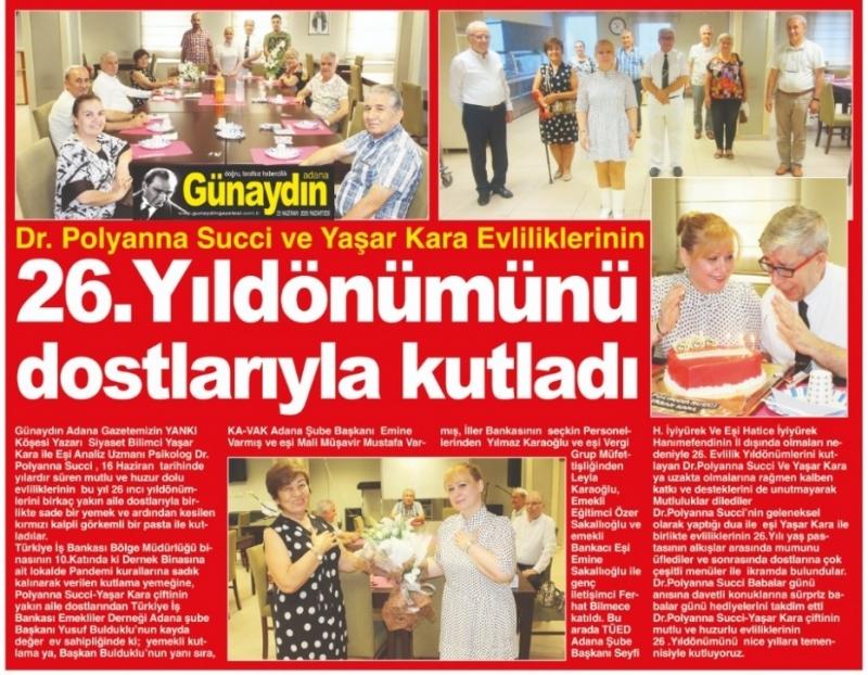 Dr.Polyanna Succi  Yaşar Kara  Evliliklerinin  26.Yıldönümünü dostlarıyla kutladı